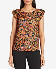 Floral-Print Cap-Sleeve Top
