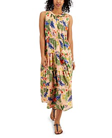 Cotton Printed Layered Maxi Dress, Created for Macy's