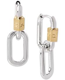 Two-Tone Carabiner Double Drop Earrings