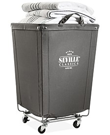Commercial Heavy-Duty Canvas Laundry Basket Hamper with Wheels
