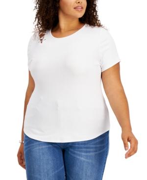 Trendy Plus Size Lace-Up Shoulder T-Shirt