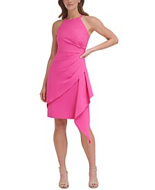 Halter Side Ruffle Sheath Dress