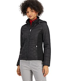 Juniors' Hooded Quilted Coat, Created for Macy's