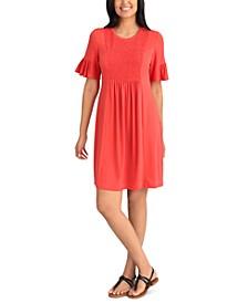 Petite Smocked A-Line Dress