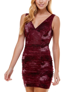 Juniors' Ruched Sparkle Mesh Dress