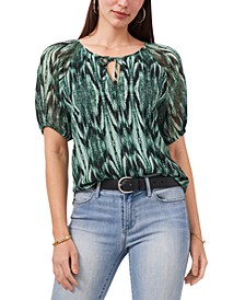 Abstract-Print Puff-Sleeve Top