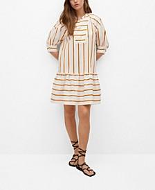 Puffed Sleeves Striped Dress