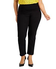 Plus Size Pull-On Polished Denim Pants