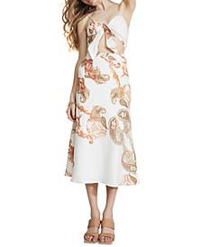 Cutout Paisley-Print Midi Dress