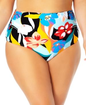 Plus Size Printed Shirred Swim Bottoms Women's Swimsuit