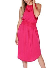 Black Label Embellished Halter Dress with Smocked Waist