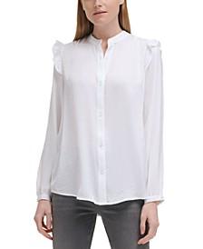Ruffle Shoulder Button-Front Blouse
