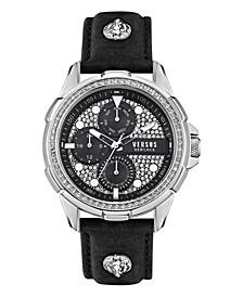 Versus Men's 6E Arrondissement Black Leather Strap Watch 46mm