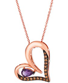 """Grape Amethyst (1/3 ct. t.w.) & Chocolate Diamond (1/4 ct. t.w.) Heart 18"""" Pendant Necklace in 14k Rose Gold"""