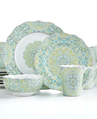 main image; main image ...  sc 1 st  Macy\u0027s & 222 Fifth Lyria Teal 16-Pc. Set Service for 4 - Dinnerware - Dining ...