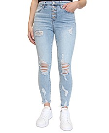 Juniors' Distressed Button-Fly Skinny Jeans