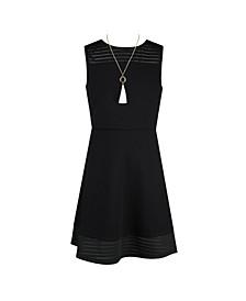 Big Girls Neckline Illusion Hem Fit and Flare Dress