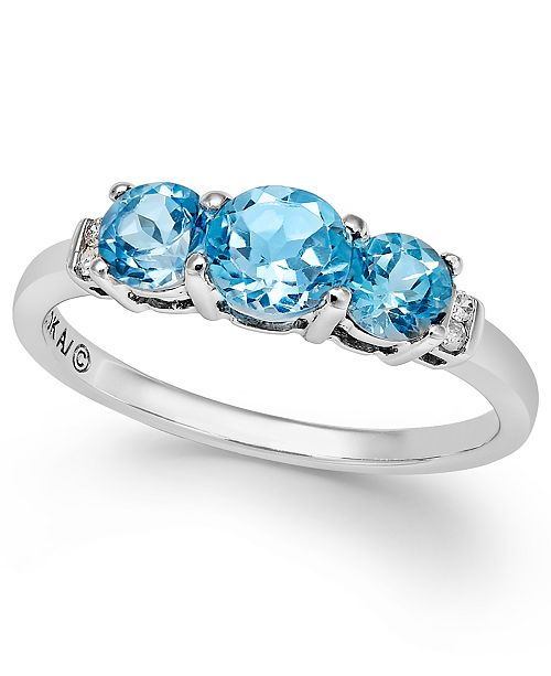 Macy's Blue Topaz (1-1/4 ct. t.w.) and Diamond Accent Three-Stone Ring in Sterling Silver
