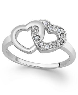 Diamond Double Heart Ring in Sterling Silver (1/10 ct. t.w.)