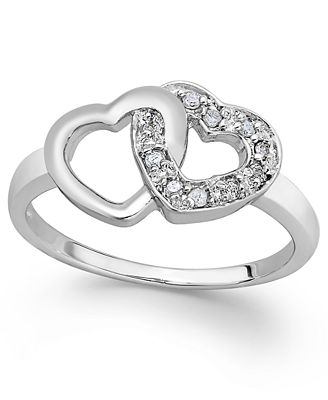 diamond double heart ring in sterling silver 110 ct tw