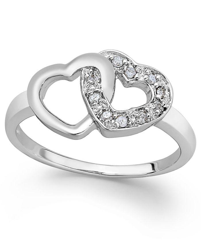 Macy's - Diamond Double Heart Ring in Sterling Silver (1/10 ct. t.w.)