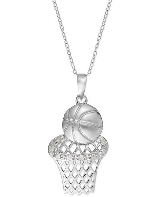 diamond basketball and hoop pendant necklace in sterling