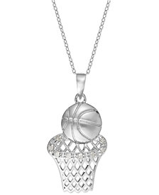 Diamond Basketball and Hoop Pendant Necklace in Sterling Silver (1/10 ct. t.w.)