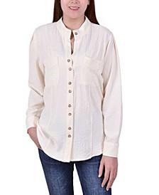 Women's Long Sleeve Button Mandarin Collar Shirt