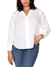 Black Label Plus Size Long Sleeve Top with Lace and Ruffle Trim