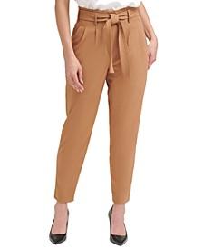 Tie-Waist Pleated Slim Pants, Regular & Petite