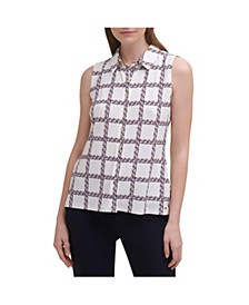 Printed Button-Front Sleeveless Top