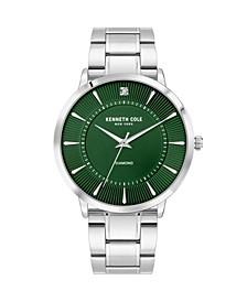 Men's 3 Hands Silver-Tone Stainless Steel Bracelet Watch 45mm
