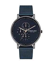 Men's Multifunction Blue Stainless Steel Mesh Watch 42mm