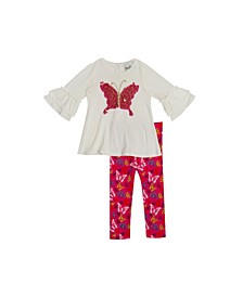 Toddler Girls Sequin Butterfly Applique with Printed Legging Set