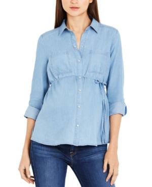 Cotton Roll-Tab Maternity Shirt