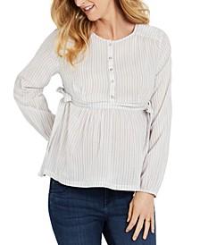 Cotton Striped Maternity Blouse