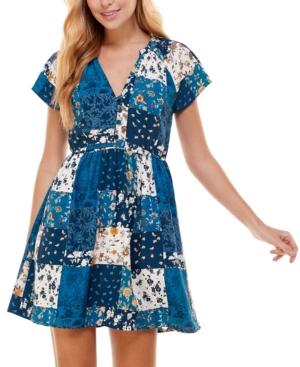Juniors' Printed Fit & Flare Dress