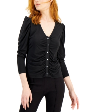 Ruched Button-Front Top