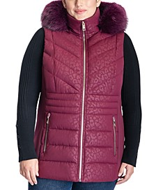 Plus Size Cheetah Print Faux-Fur-Trim Hooded Vest