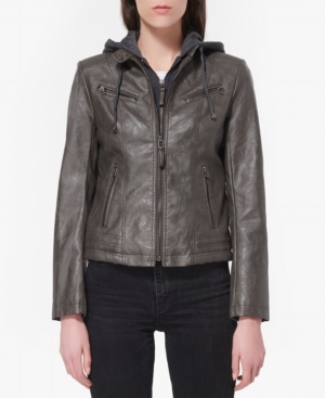 Juniors' Layered-Look Faux-Leather Coat