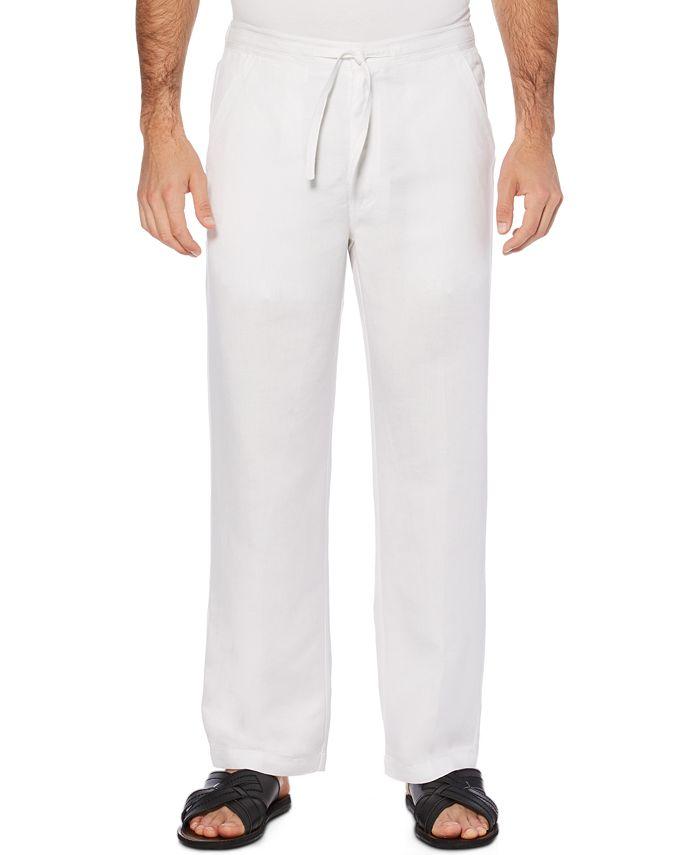 Cubavera - Solid Linen-Blend Drawstring Pants