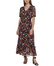 Belted Flounce-Hem Maxi Dress