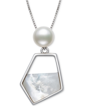 """Cultured Freshwater Pearl (7mm) & Mother-of-Pearl Freeform 18"""" Pendant Necklace in Sterling Silver"""