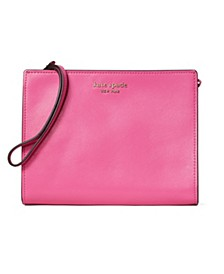 Spencer Leather Wristlet With Gusset