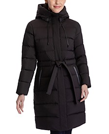 Petite Hooded Belted Puffer Coat, Created for Macy's