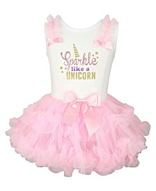 Big Girls Sparkle Like Unicorn Glitter Print Ruffle Dress with Tutu Skirt