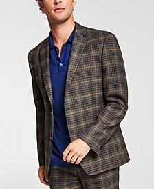 Men's Slim-Fit Brown/Blue Plaid Suit Jacket, Created for Macy's