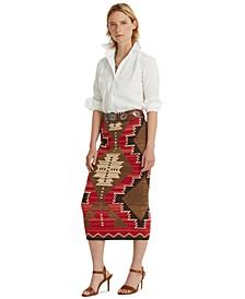 Cotton Blend Southwestern Skirt
