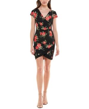 Juniors' Framed Floral Bodycon Dress