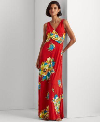 로렌 랄프로렌 Lauren Ralph Lauren Floral Jersey Sleeveless Dress,Hibiscus/yellow/multi